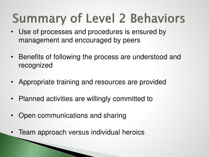Summary of Level 2 Behaviors