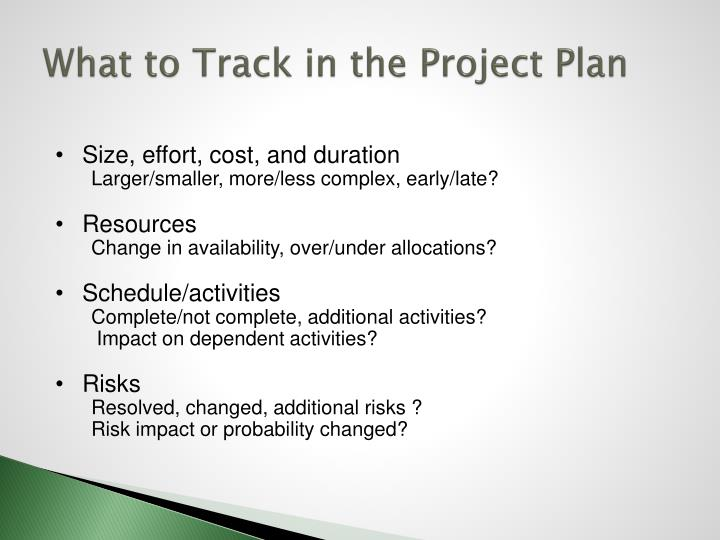 What to Track in the Project Plan