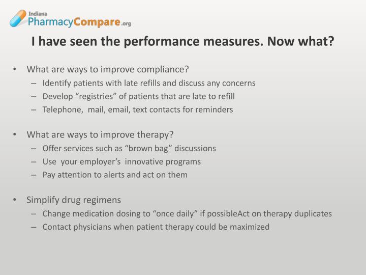 I have seen the performance measures. Now what?