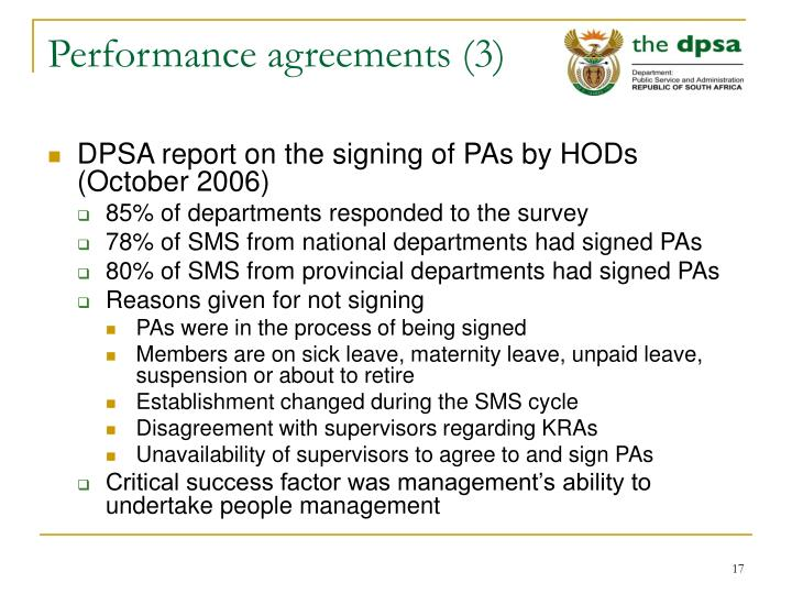Performance agreements (3)
