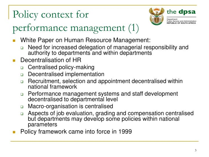Policy context for performance management 1