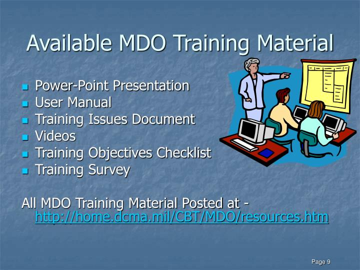 Available MDO Training Material