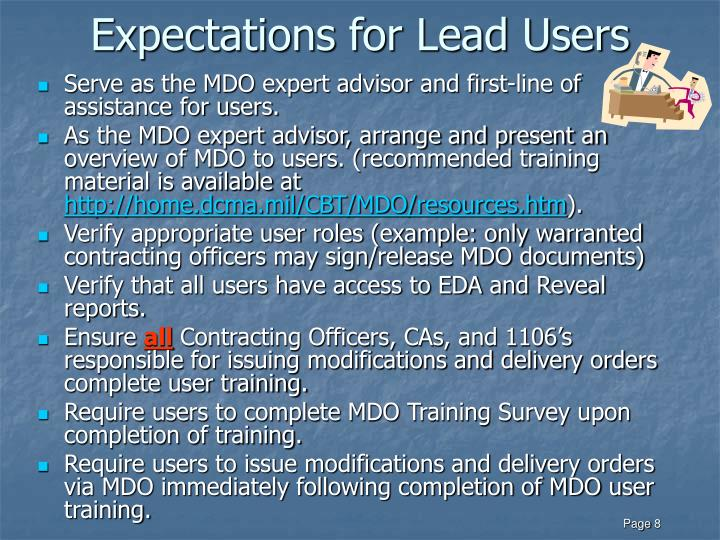 Expectations for Lead Users
