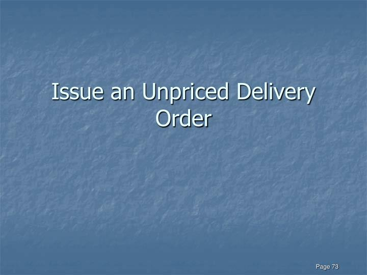 Issue an Unpriced Delivery Order