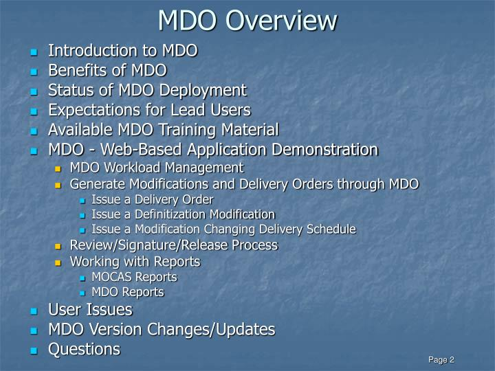 Mdo overview
