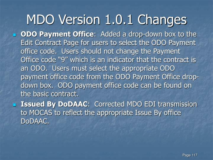 MDO Version 1.0.1 Changes