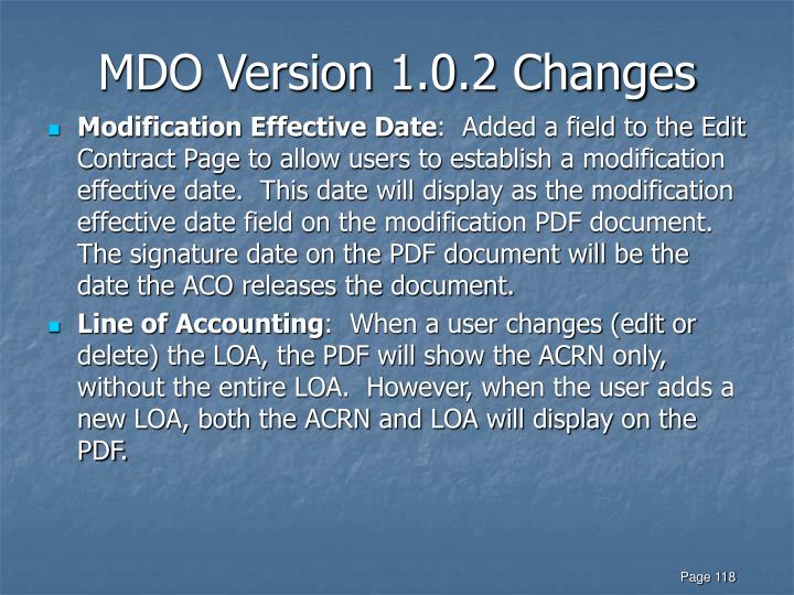 MDO Version 1.0.2 Changes