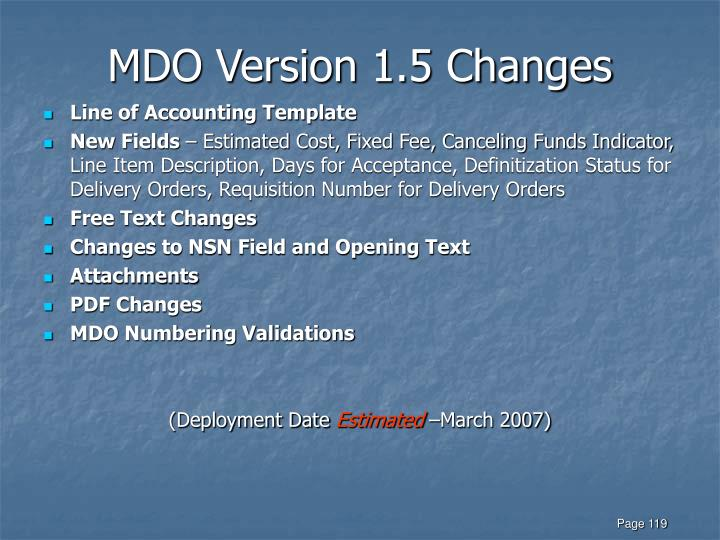 MDO Version 1.5 Changes