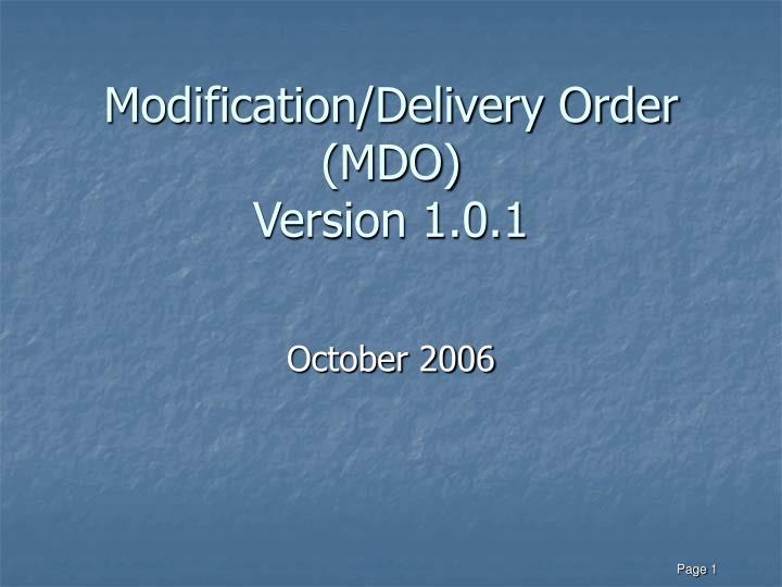 modification delivery order mdo version 1 0 1