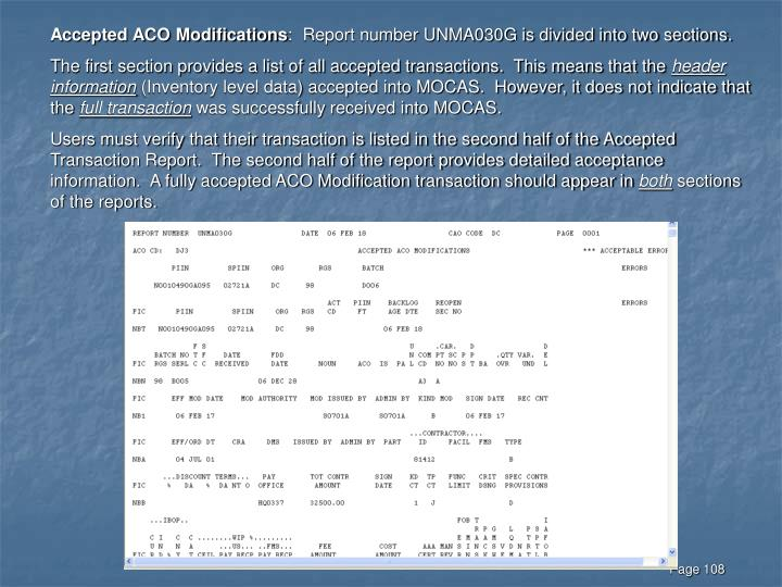 Accepted ACO Modifications