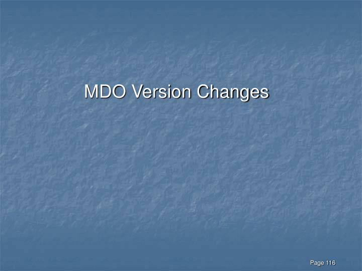 MDO Version Changes