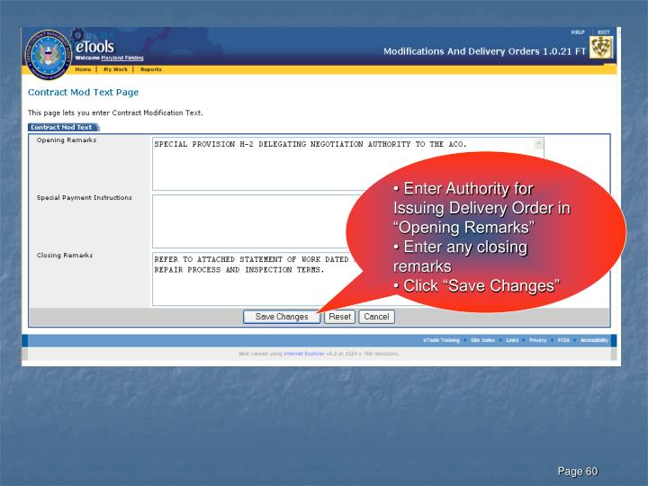 "Enter Authority for Issuing Delivery Order in ""Opening Remarks"""