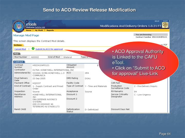 Send to ACO/Review/Release Modification