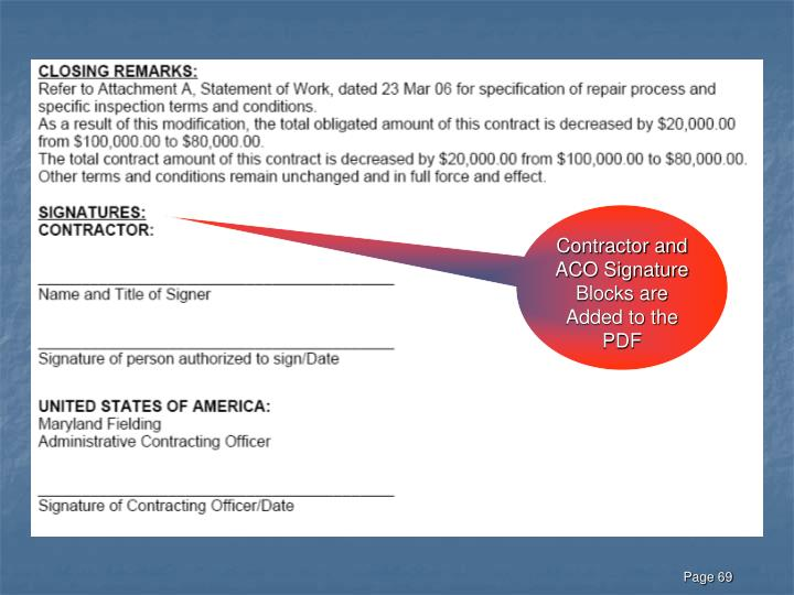 Contractor and ACO Signature Blocks are Added to the PDF