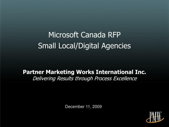Microsoft Canada RFP