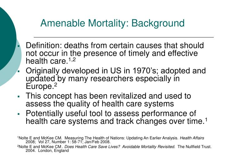 Amenable Mortality: Background