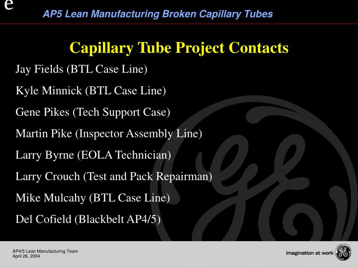 Capillary Tube Project Contacts