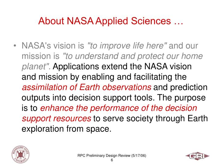 About NASA Applied Sciences …