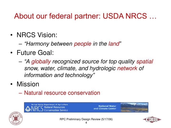 About our federal partner: USDA NRCS …