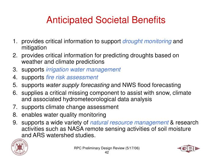 Anticipated Societal Benefits