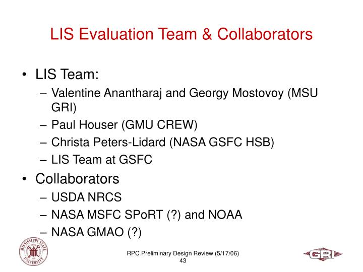LIS Evaluation Team & Collaborators