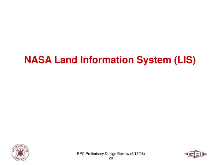 NASA Land Information System (LIS)