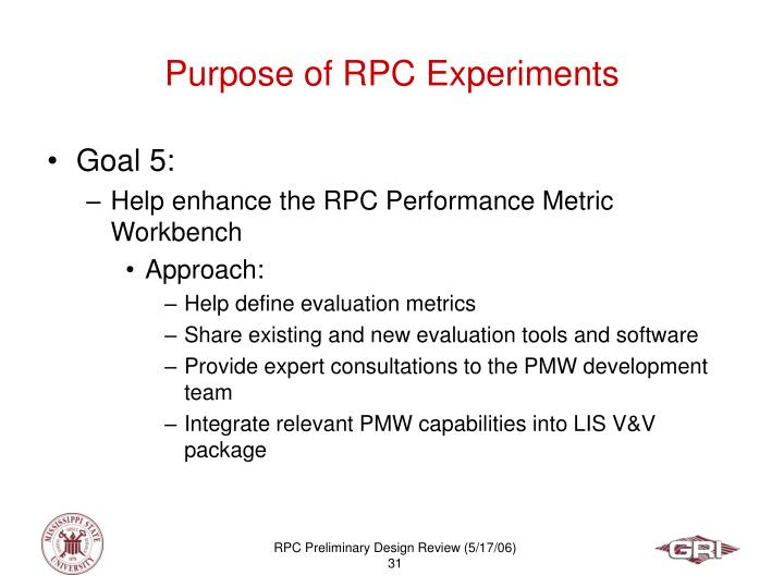 Purpose of RPC Experiments