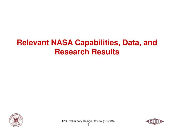 Relevant NASA Capabilities, Data, and Research Results