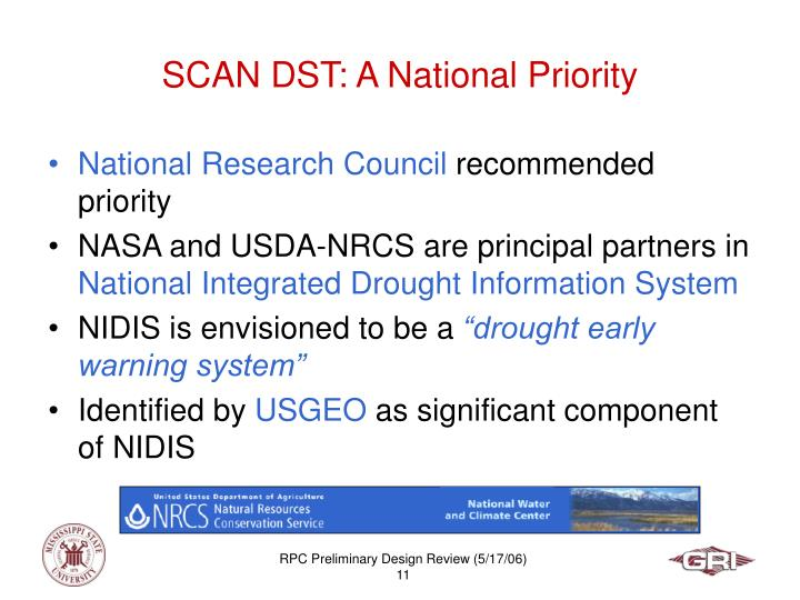 SCAN DST: A National Priority