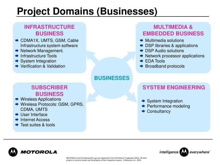 Project Domains (Businesses)