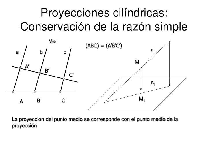 Proyecciones cilíndricas: Conservación de la razón simple