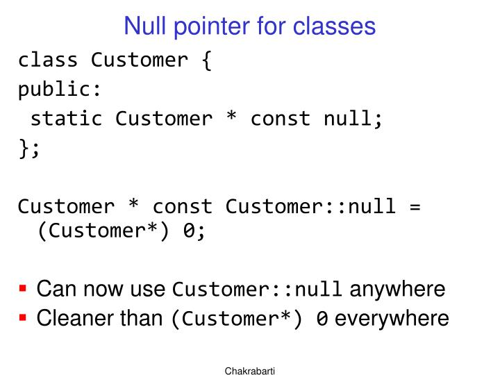 Null pointer for classes