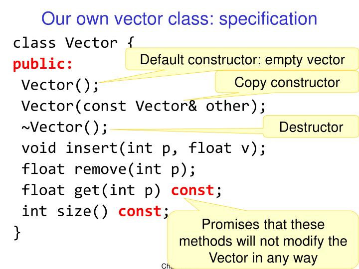 Our own vector class: specification