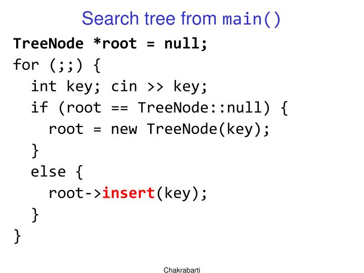 Search tree from