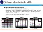 pmd rules with mitigation by mlse
