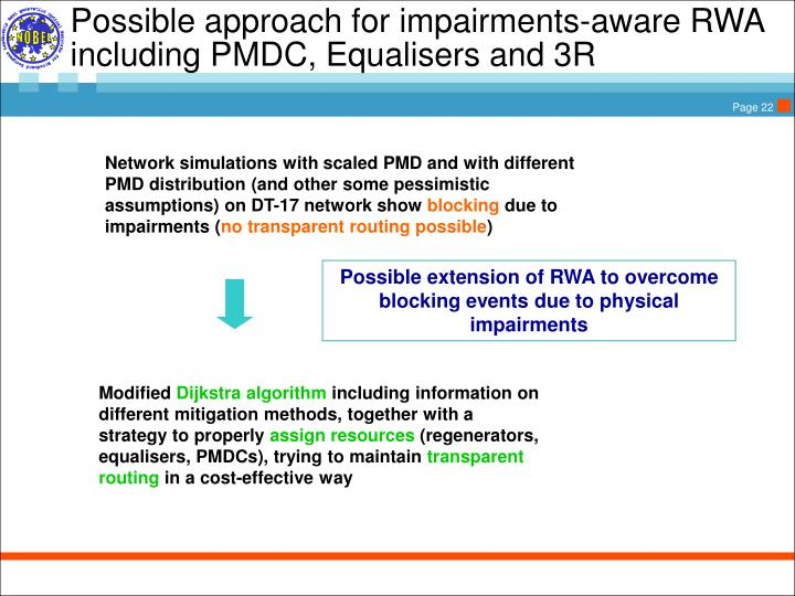 Possible approach for impairments-aware RWA