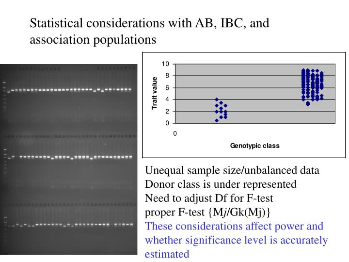 Statistical considerations with AB, IBC, and association populations