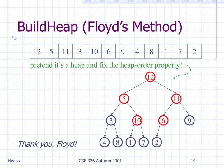 BuildHeap (Floyd's Method)