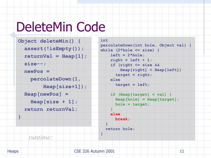DeleteMin Code
