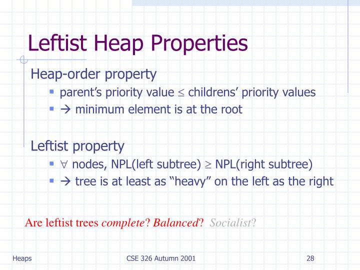 Leftist Heap Properties
