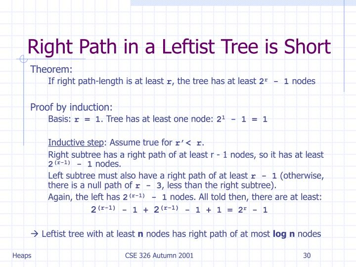 Right Path in a Leftist Tree is Short