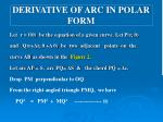derivative of arc in polar form