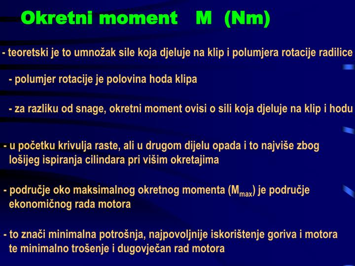 Okretni moment   M  (Nm)