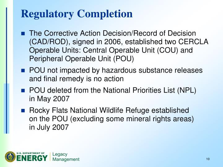 Regulatory Completion