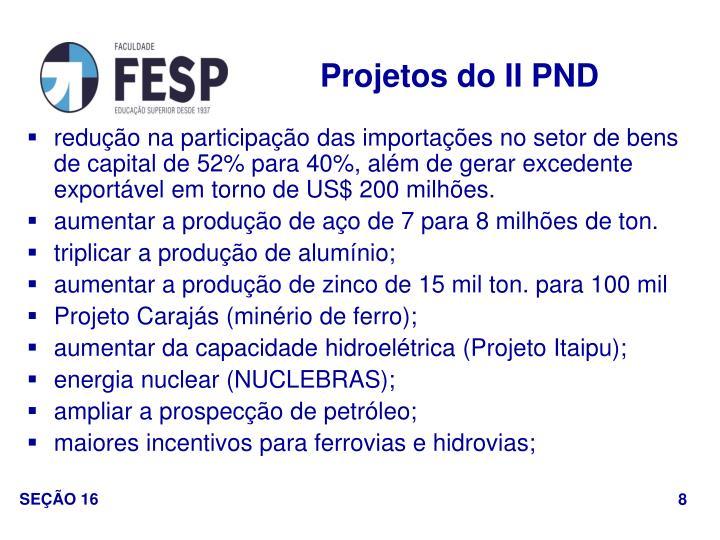 Projetos do II PND
