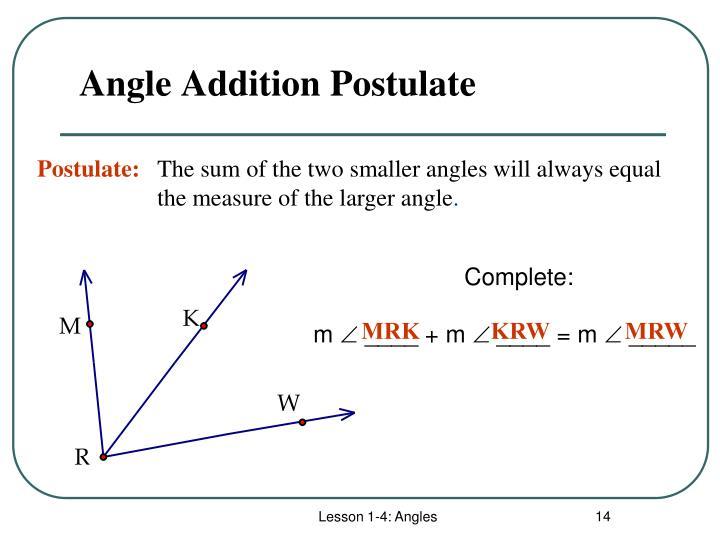 Angle Addition Postulate