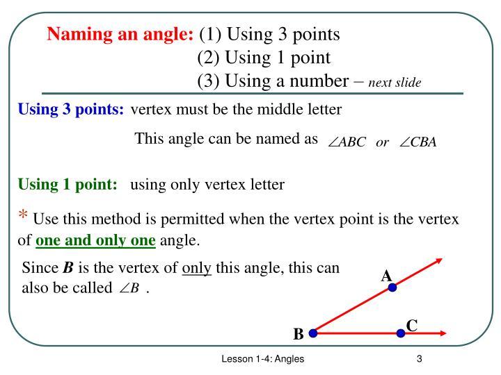 Naming an angle: