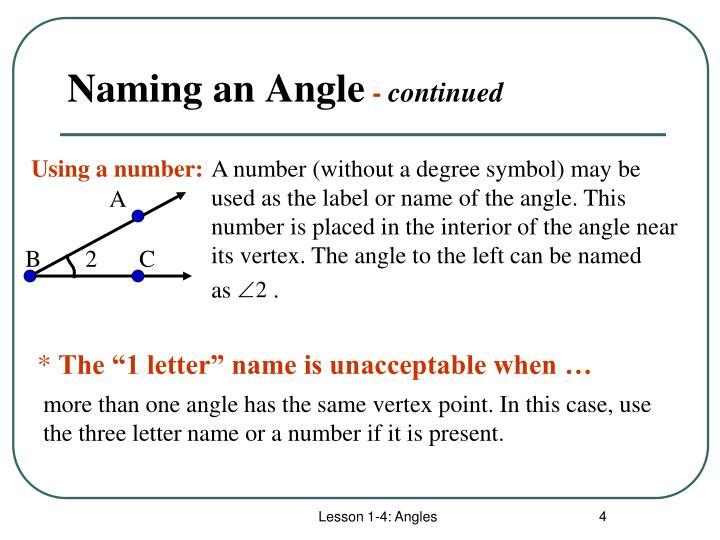 Naming an Angle