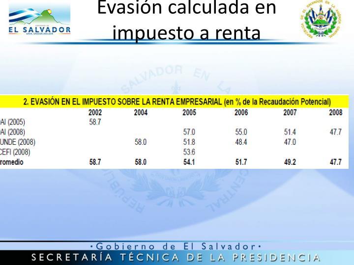 Evasión calculada en impuesto a renta