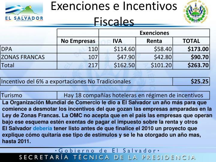 Exenciones e Incentivos Fiscales